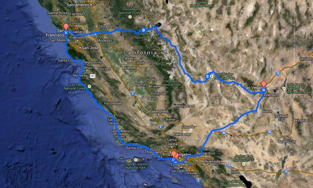 Karta över hur vi tänkt åka runt Kalifornien